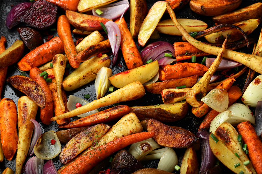 Roasted carrotes, onions, and potatoes