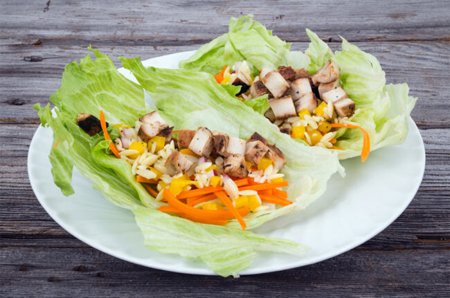 2 Chicken Lettuce Wraps with Lime Cabbage Slaw & Mango Salsa