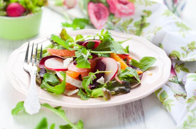 Plate of Romaine, Orange and Radish Salad
