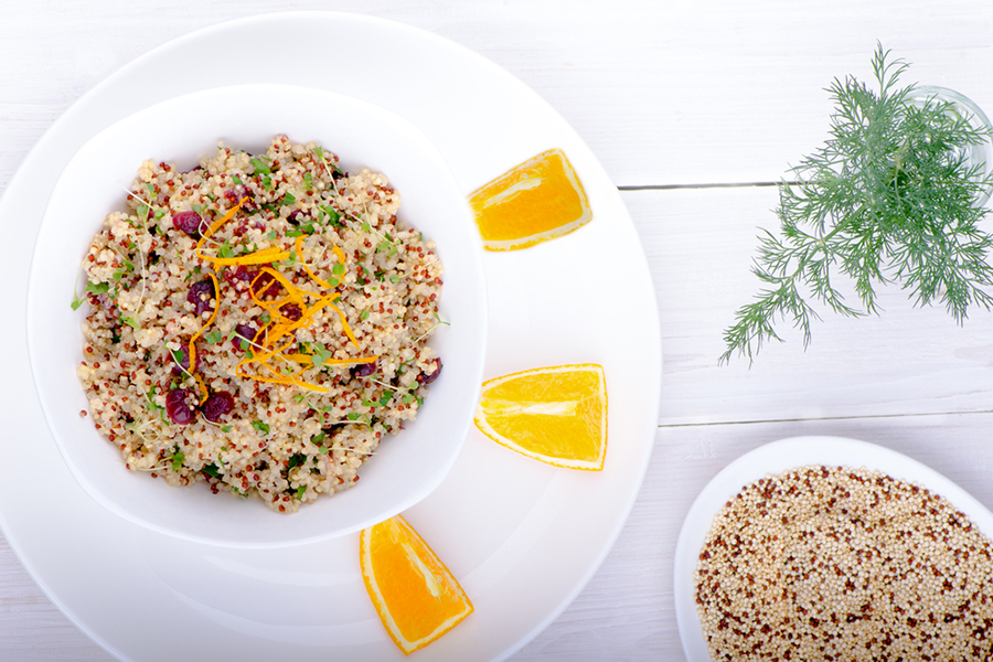 Bowl of Spiced Quinoa Salad with Citrus Vinaigrette