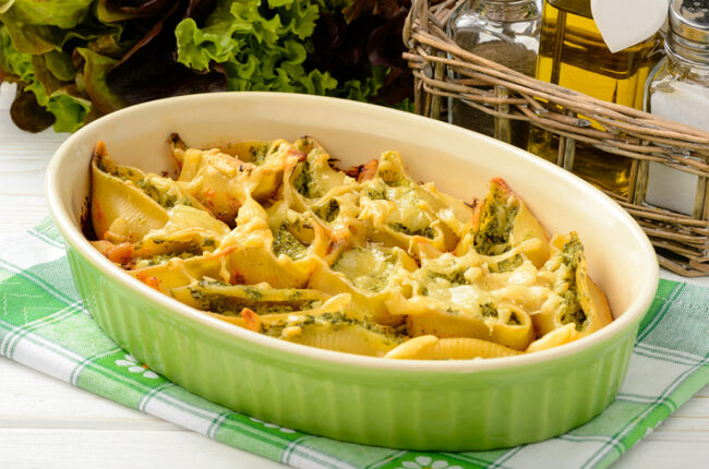 """Baking dish with Stuffed Shells with White Bean """"Cheese"""" Sauce"""