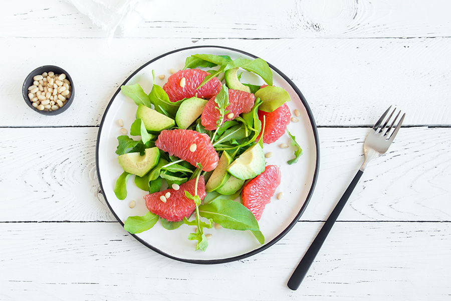 Avocado, Grapefruit and Shaved Red Onion Salad