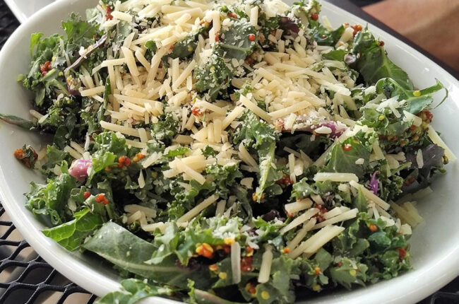 Lemony Kale and Aged Gouda Salad with Toasted Almonds