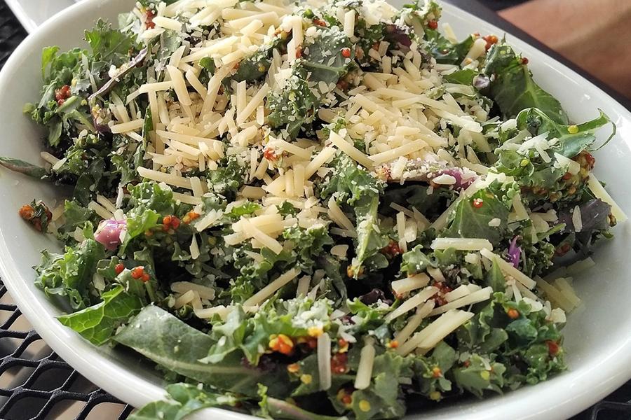 Lemony Kale and Aged Gouda Salad with Toasted Almonds