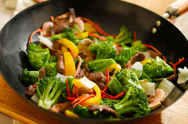 Wok with Orange Beef, Broccoli and Mushrooms