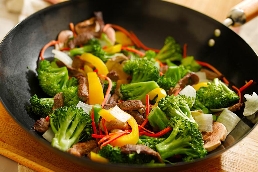 Wok with Orange Beef, Broccoli and Mushrooms