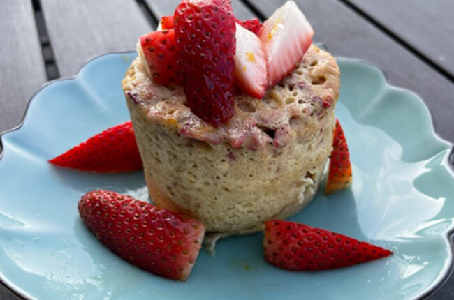Strawberry, Almond Butter and Vanilla Mug Cake