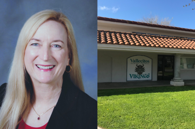 Headshot of Linda Miller next to image of Vallecitos School District building