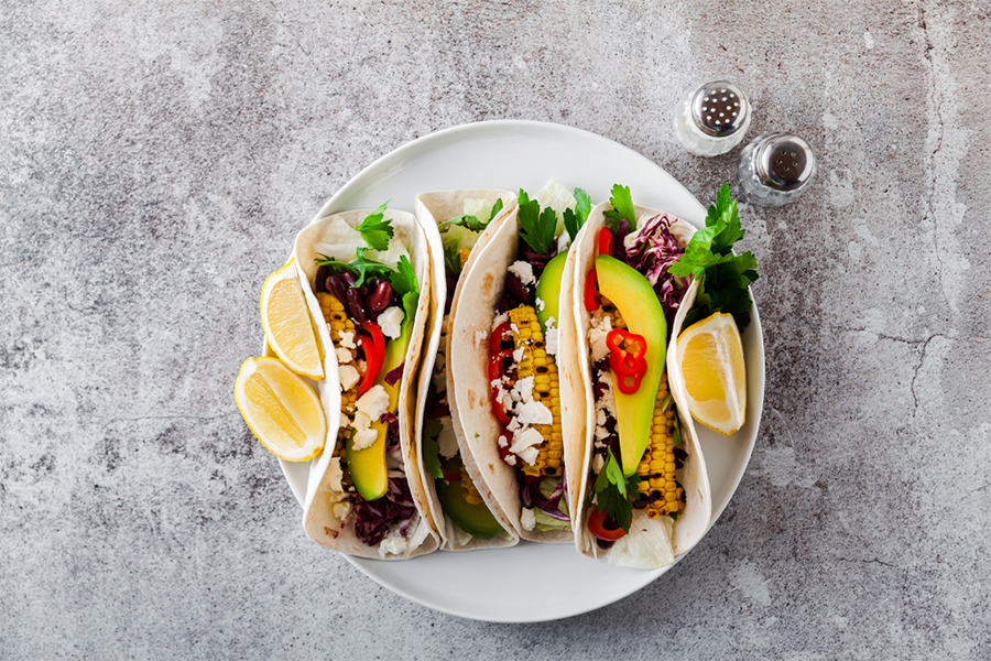 Black Bean Tacos on a plate