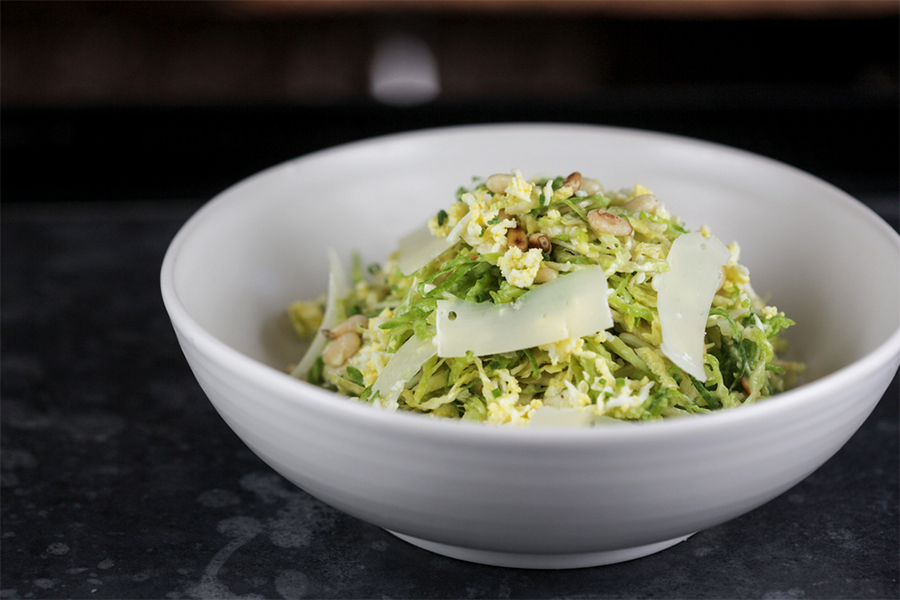 Bowl of Brussels Sprouts, Lemon and Parmesan Salad