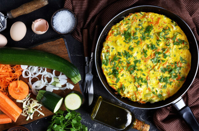 Pan with Leek & Loaded Veggie Frittata