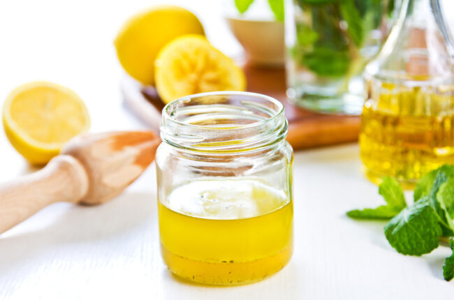 Jar of Lemon Salad Dressing