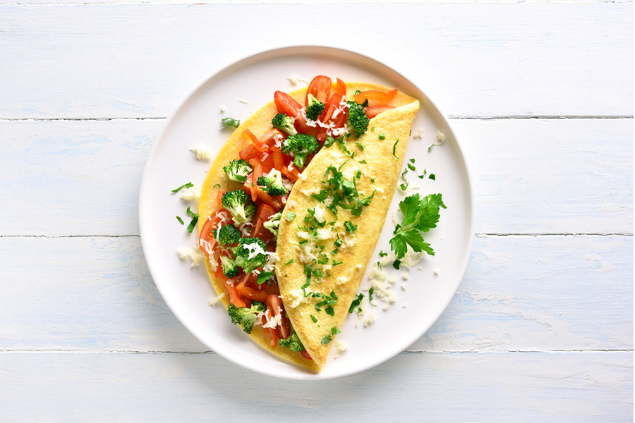 Veggie omelet on a plate