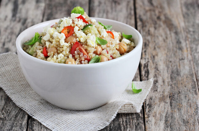 Bowl of Quinoa-Chickpea Tabbouleh Salad