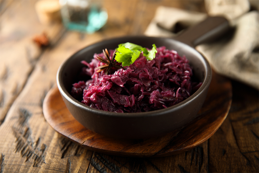 Bowl with Smoky Sweet and Sour Braised Red Cabbage