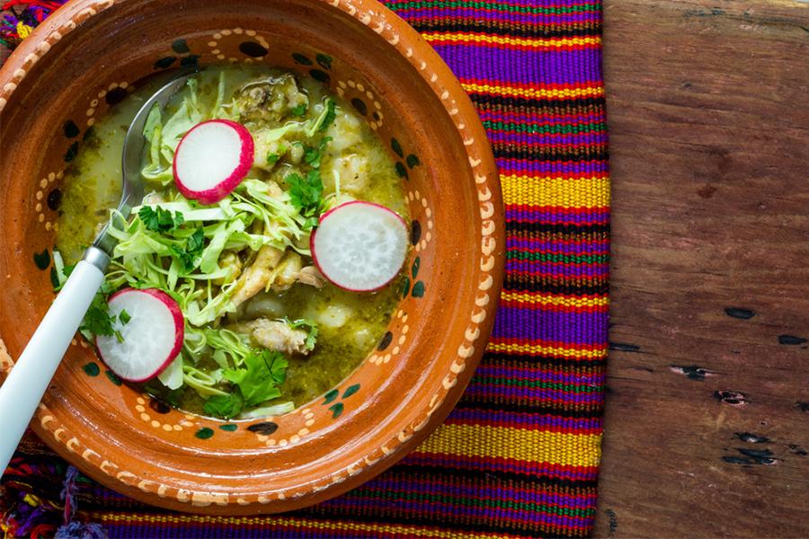 Bowl of Green Chili, Sweet Potato & White Bean Stew