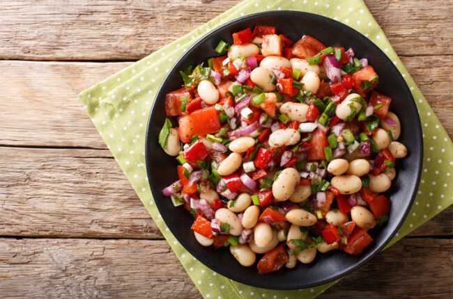 Chopped Vegetable and White Bean Salad in a bowl