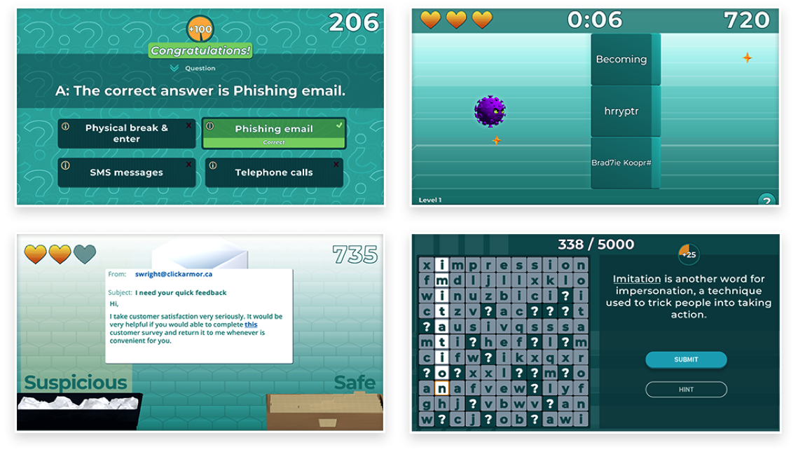 various gamified learning challenges