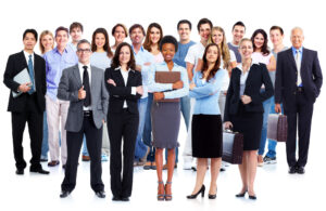 group of employeees smiling