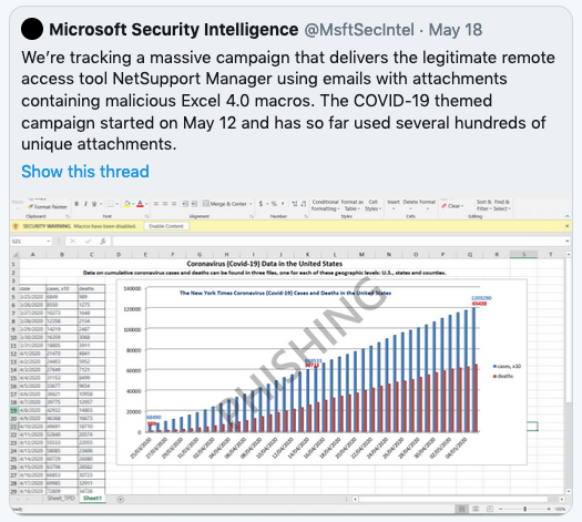Microsoft tweet about Excel-based phishing attack