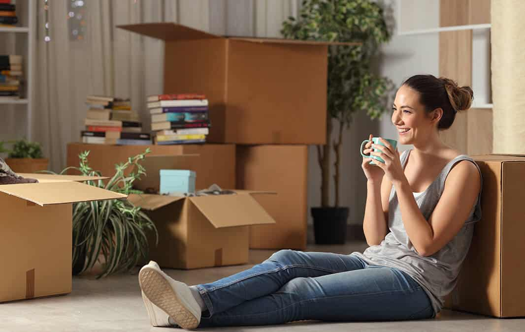 woman sitting in new home
