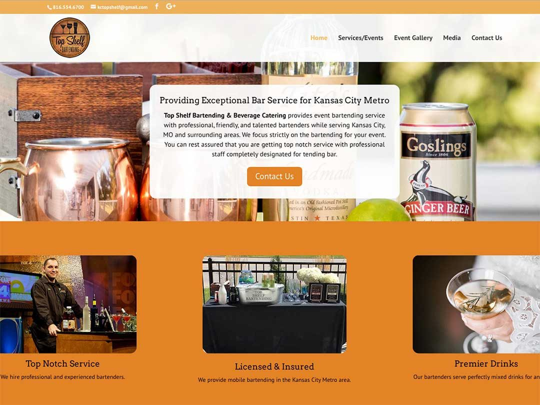 Top Shelf Bartending website