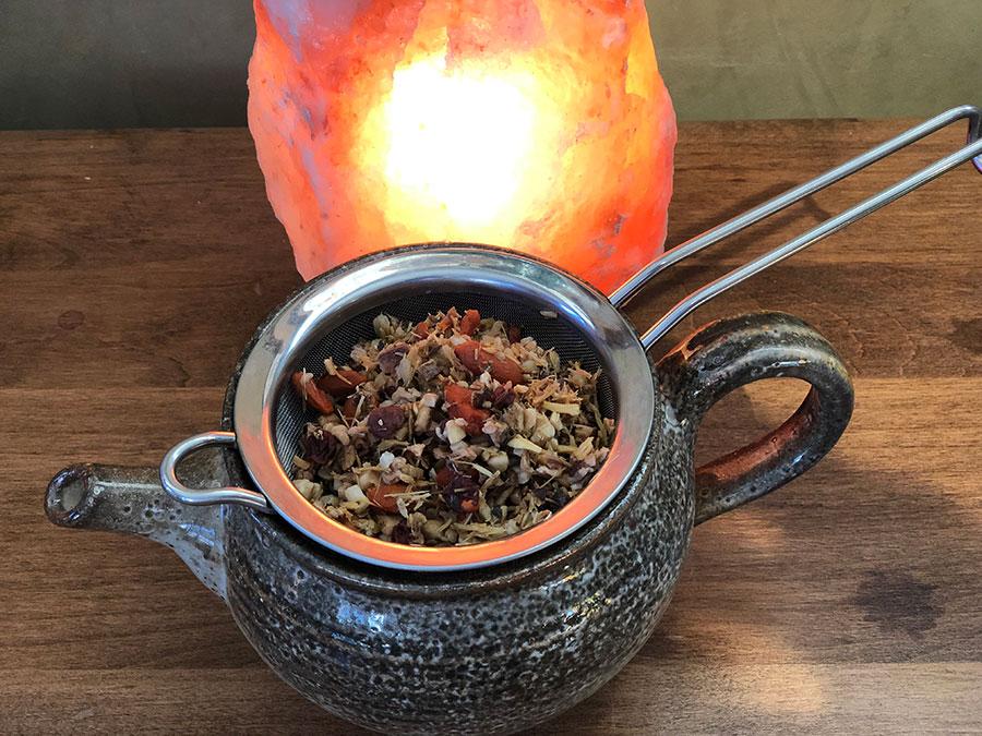 tea pot with herbal adaptogens