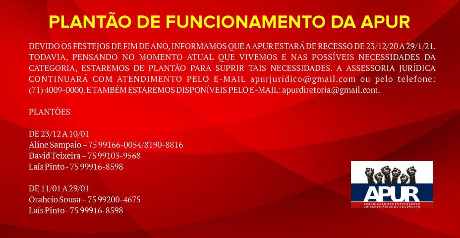 PLANTÃO DE FUNCIONAMENTO DA APUR