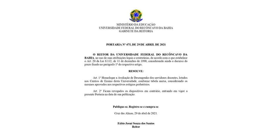 REITORIA DA UFRB PUBLICOU PORTARIA DE APROVAÇÃO DE PROFESSORES/AS NO ESTÁGIO PROBATÓRIO