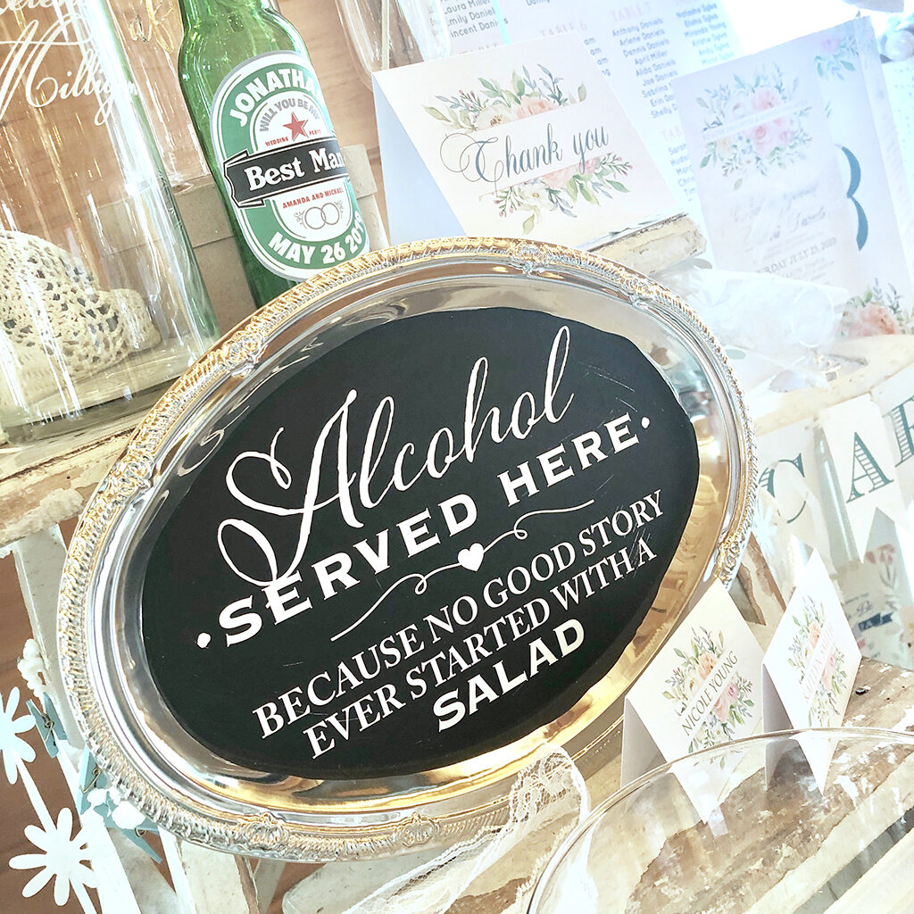 Alcohol served here vinyl sign
