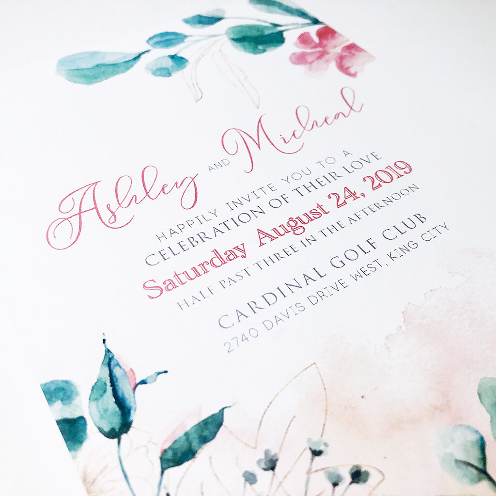 watercolour flowers wedding invitations