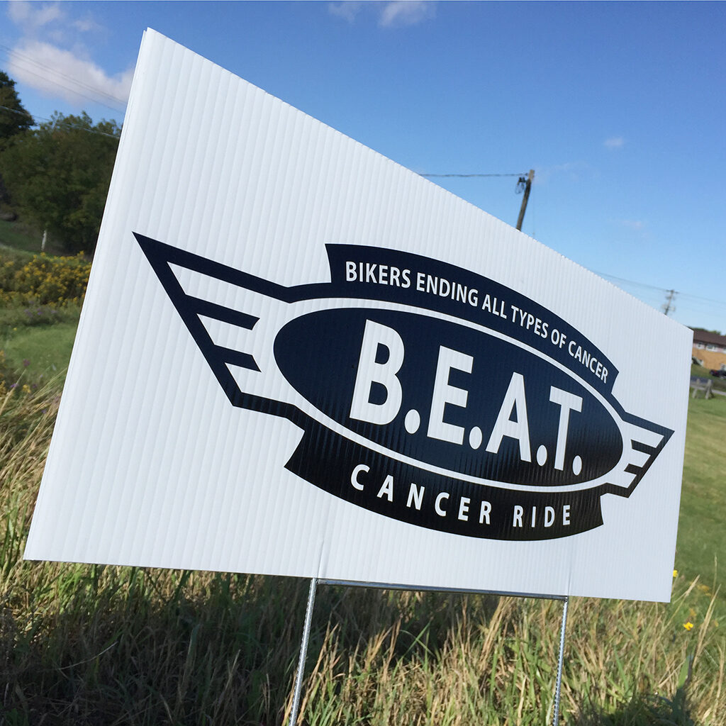 BEAT cancer motorcycle ride sign