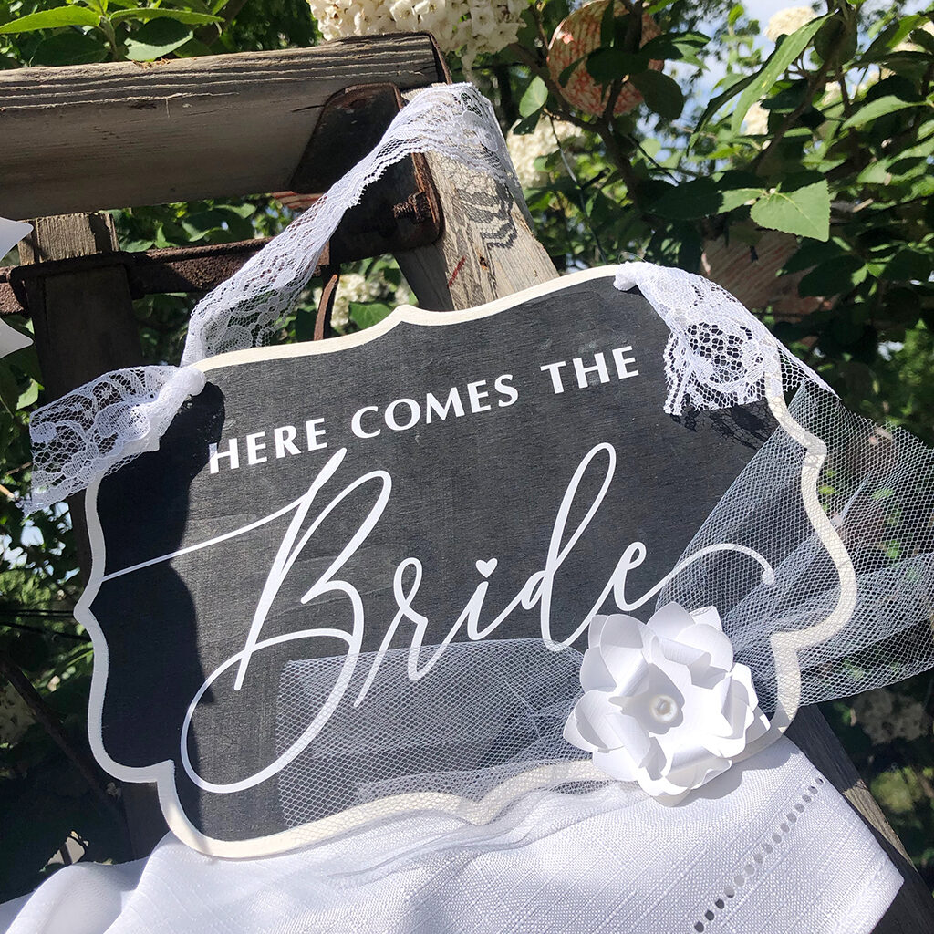 here comes the bride hanging sign