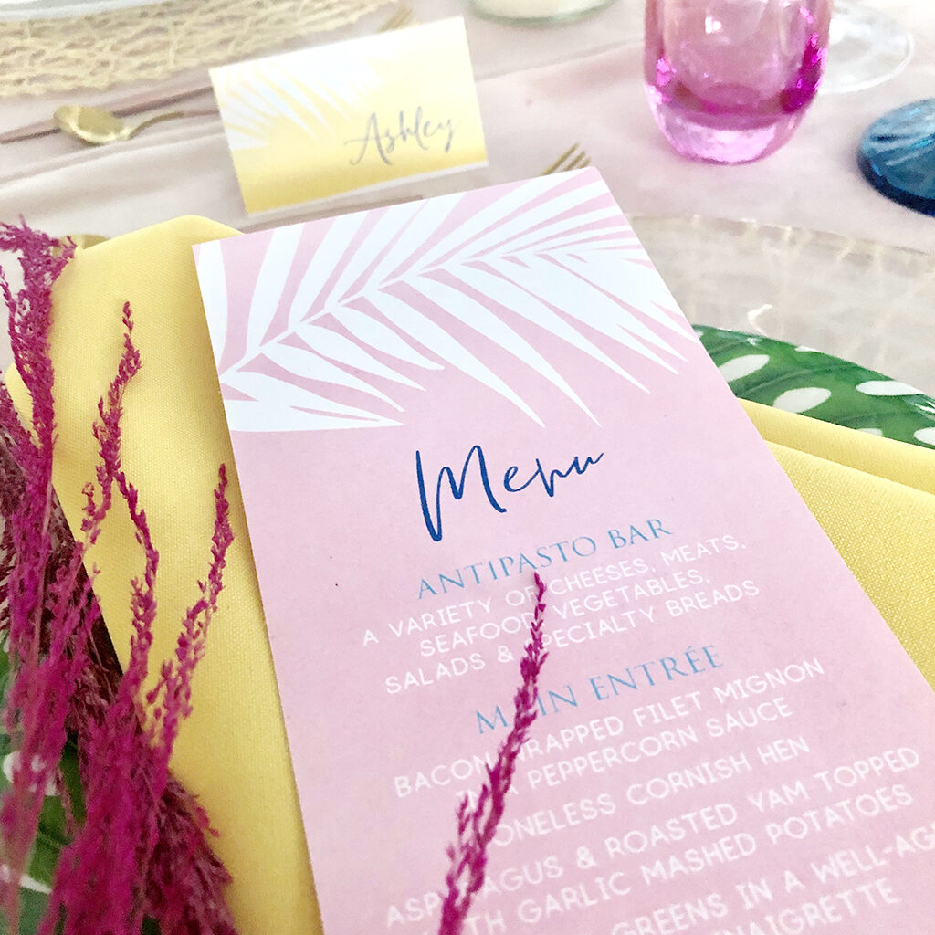 colourful palm leaf wedding menu