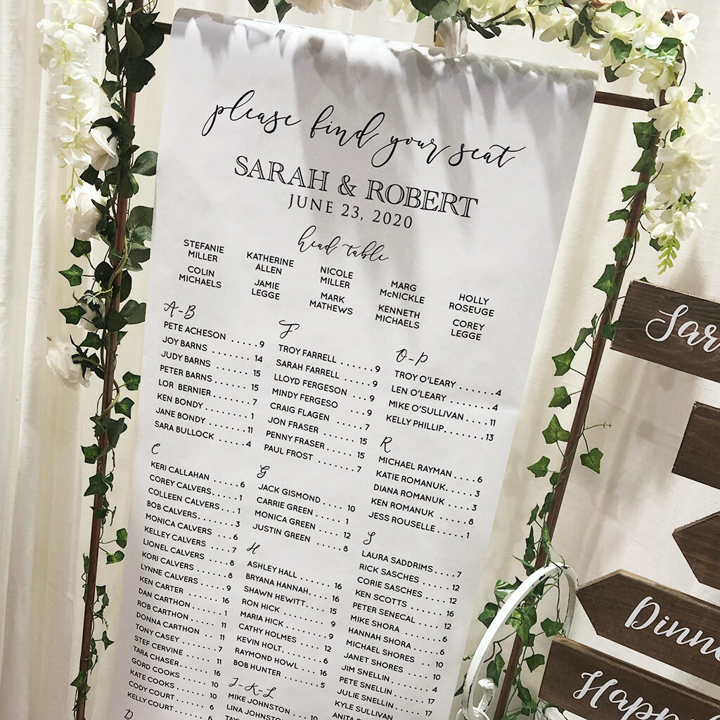 Wedding seating scroll sign