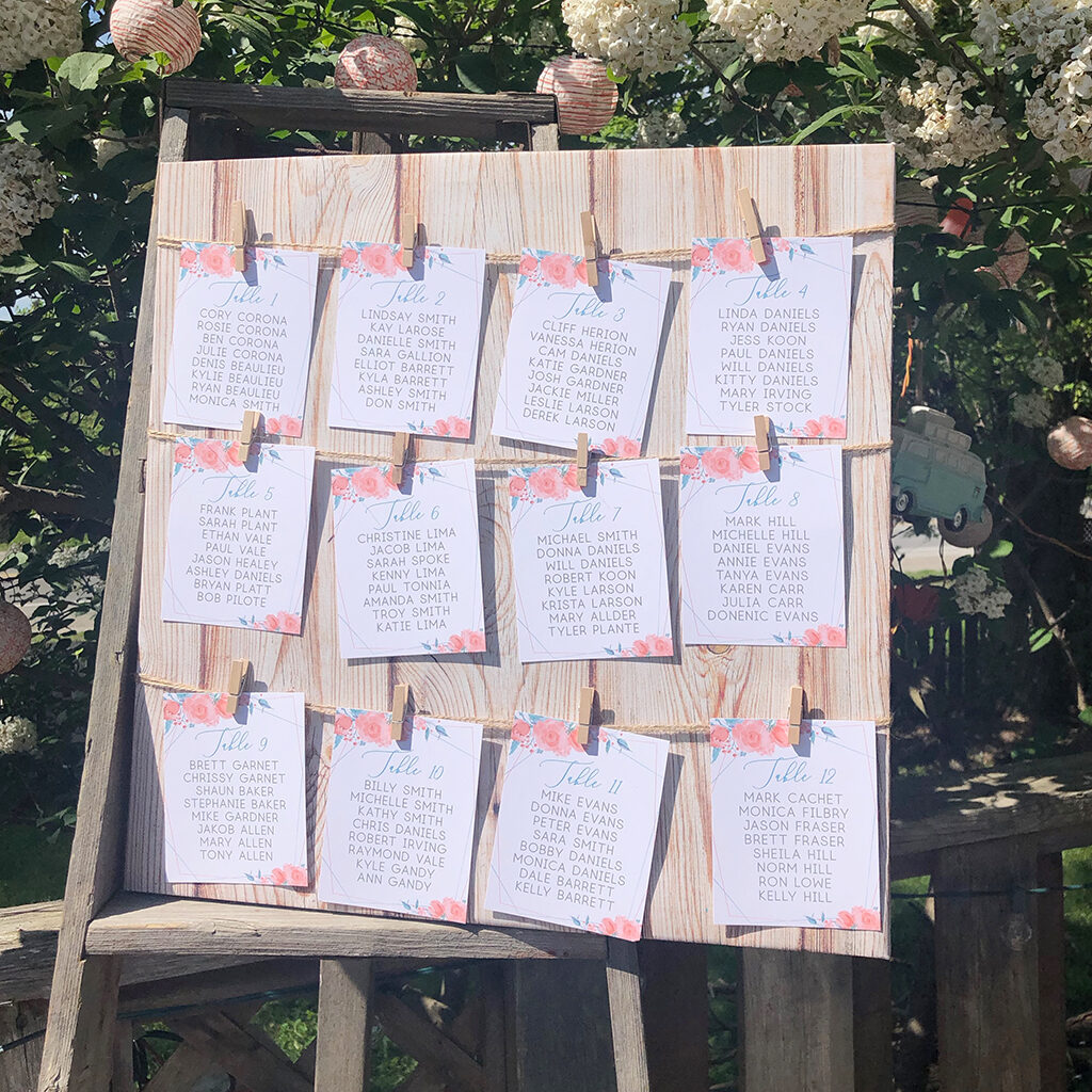 Hanging wedding seating cards