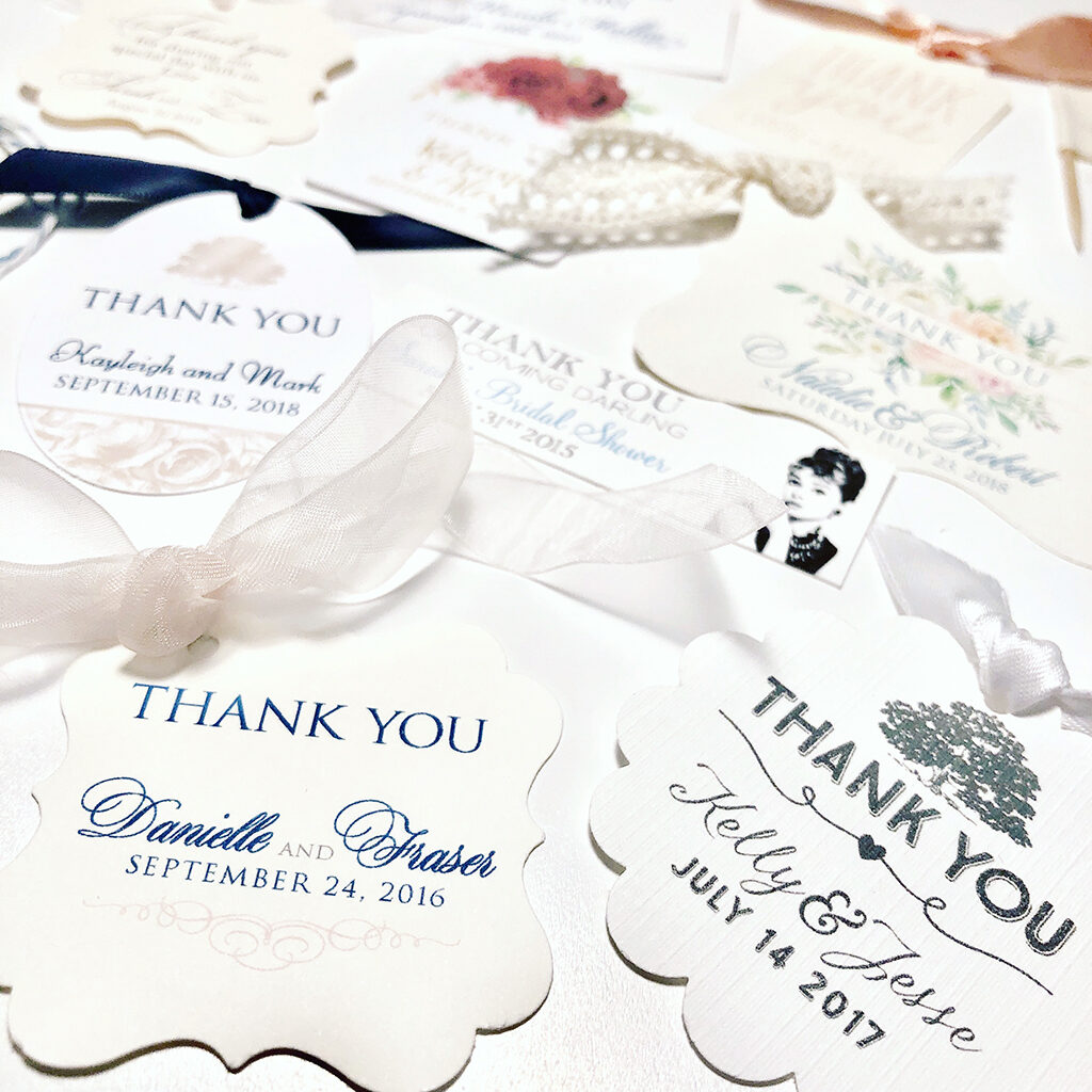 Various wedding favour tags