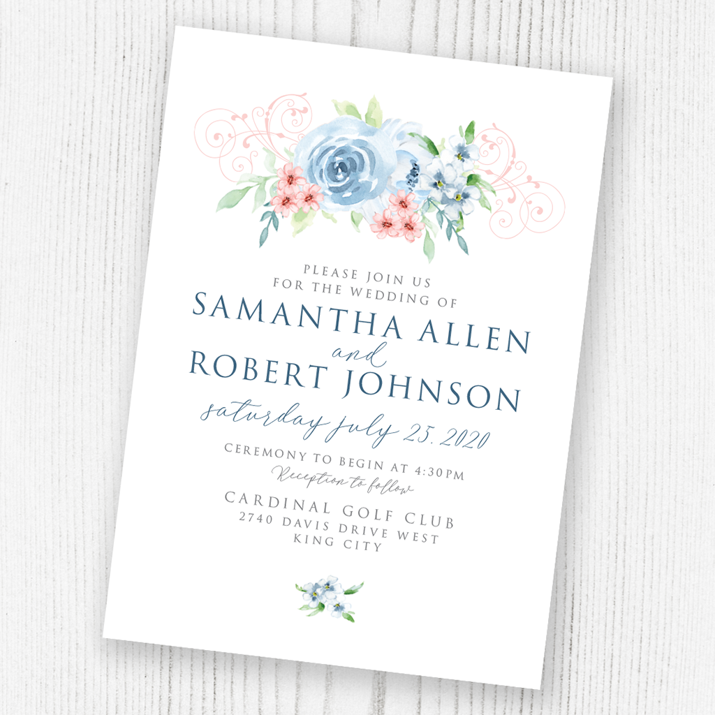 Watercolour flowers invitation