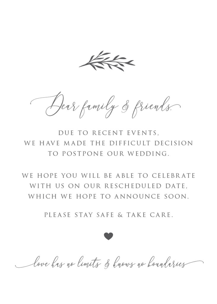 Generic Wedding Postponement Digital Invitation