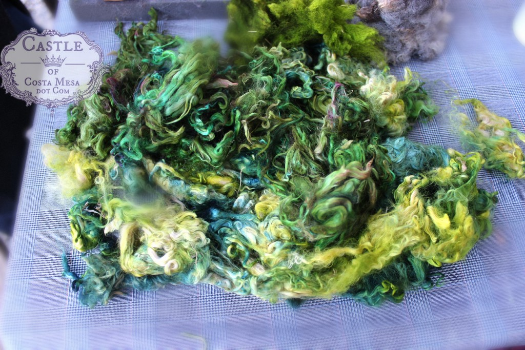 4037 151117 Christine Newell hand dyed suri alpaca wool locks in green for making Christmas Trees