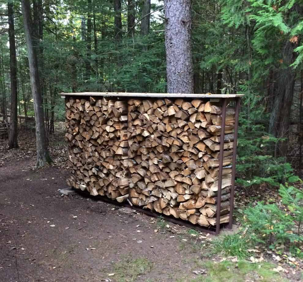 finished firewood frame from re-purposed fence panel