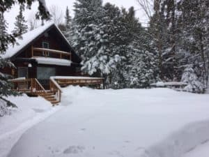 shoveling at the cottage