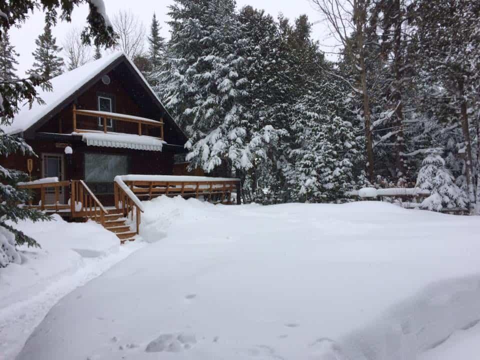 shoveling at the cottage