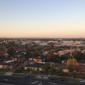 The view from my 8th-floor hotel room in Melbourne, as dusk begins to fall.