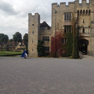 """Anne Boleyn"" dances outside Hever Castle, ancestral home of the doomed queen, in 2014."