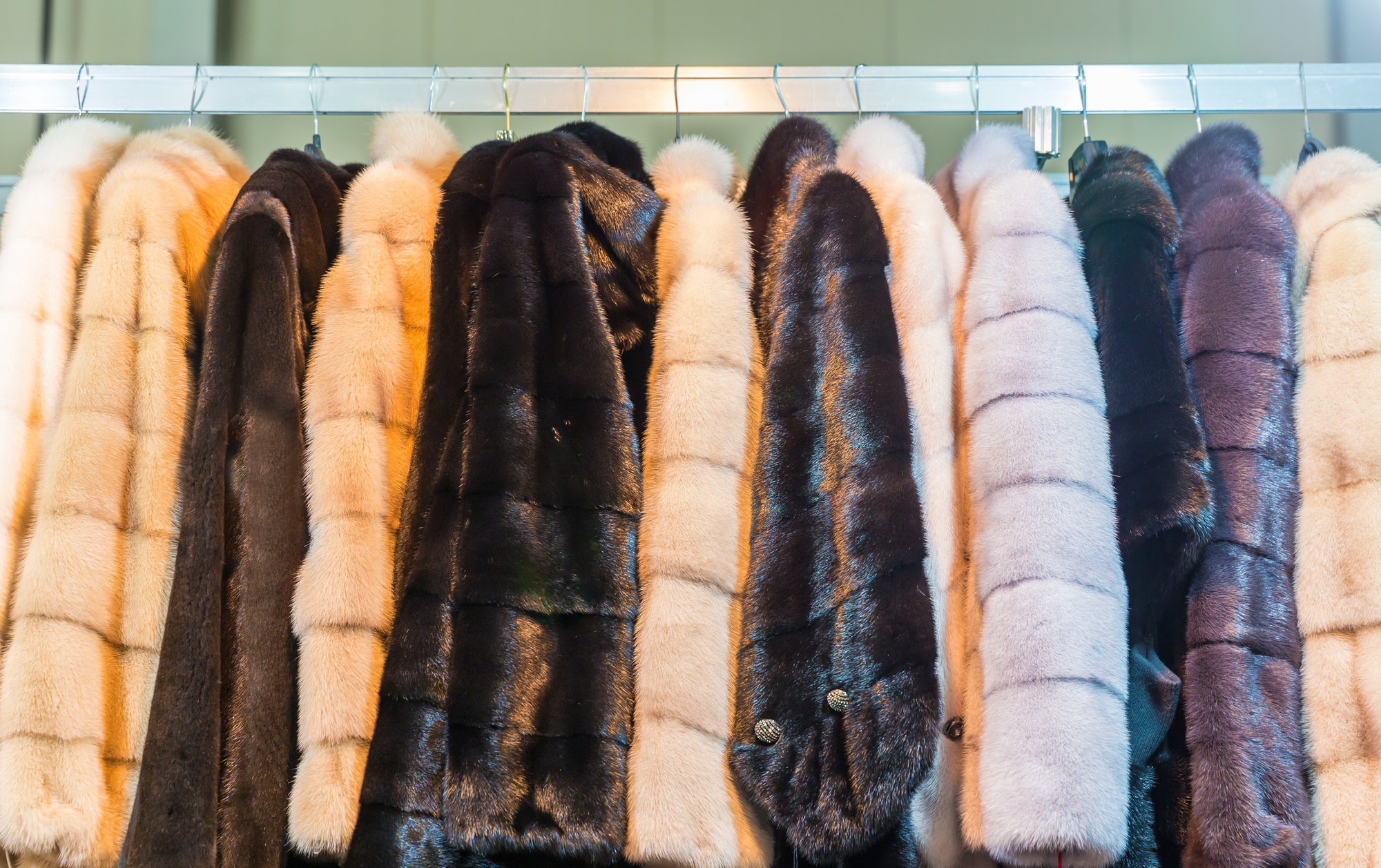 Collection of fur coats in shop, store showcase