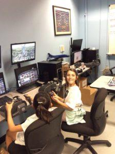 Student flying simulator.