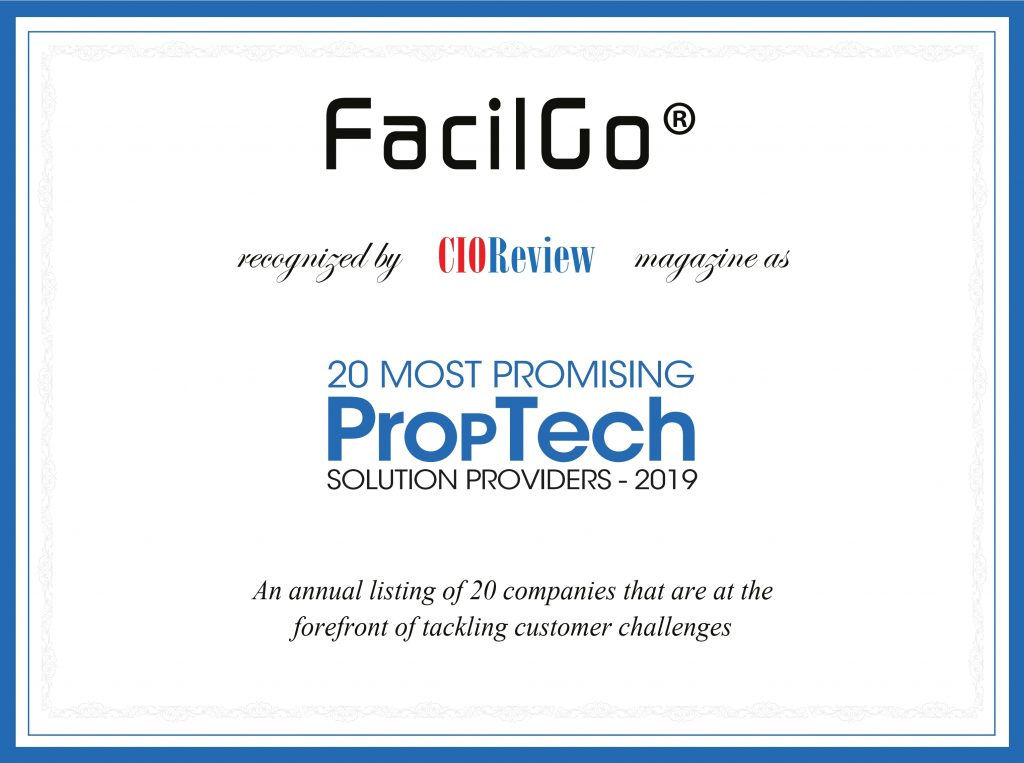 FacilGo® Recognized As Top 20 Most Promising PropTech Solutions of 2019 by CIOReview