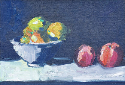 Still Life with Lemons in a Bowl, Two Peaches