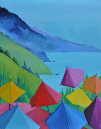 Umbrellas at Nepenthe IV by Erin Lee Gafill